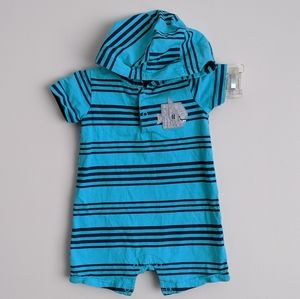 Blue Striped Shark  Hooded One Piece